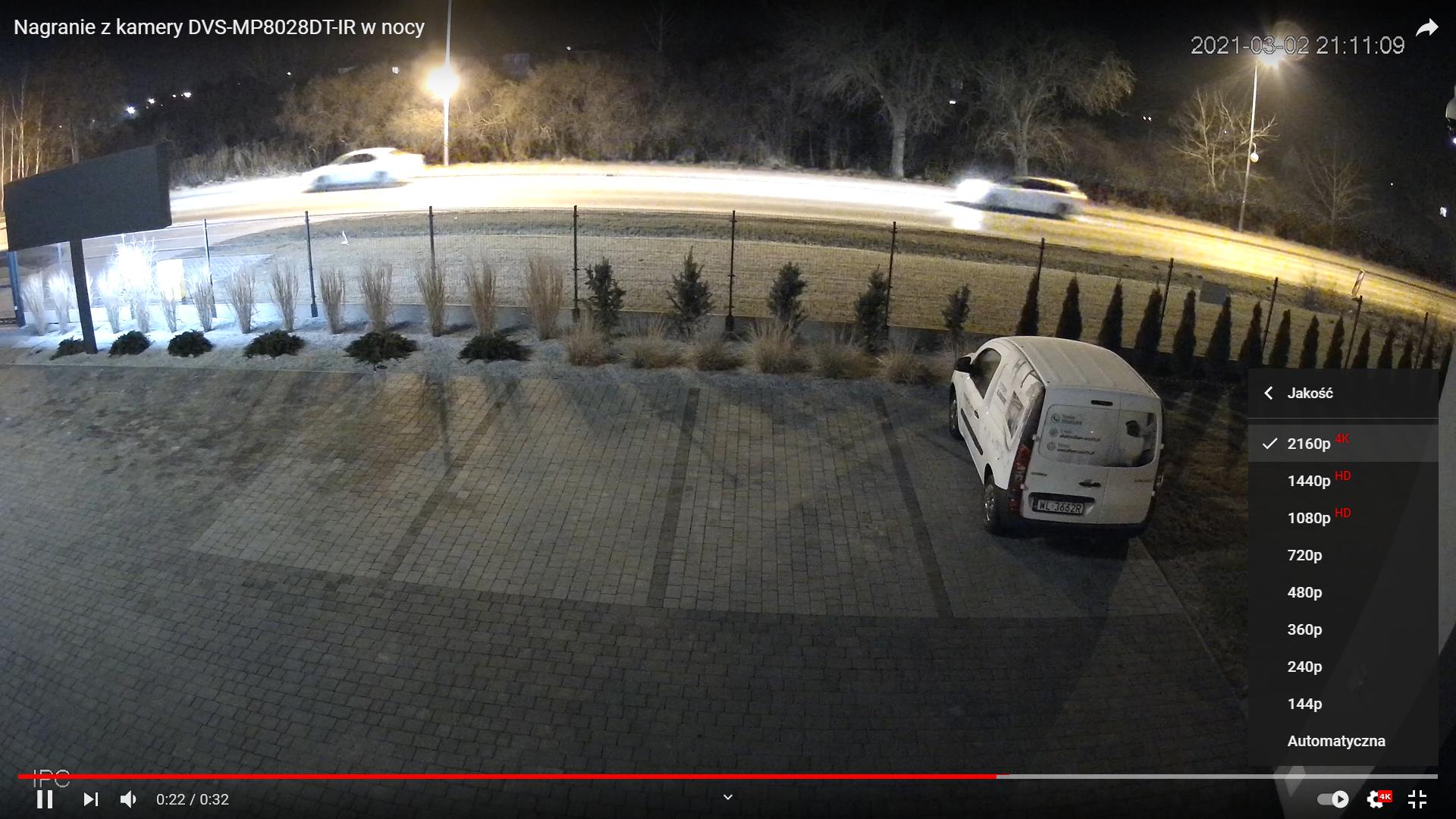 Nagranie z kamery DVS-MP8028DT-IR w nocy